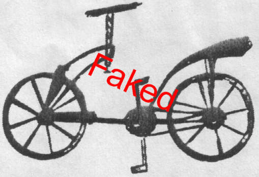 Faked scribble in 1974: chain bicycle